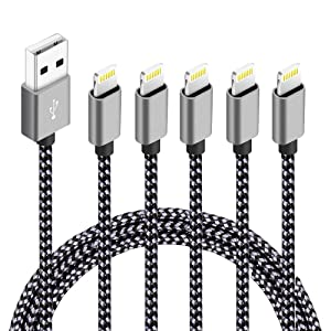 5pack,(3ft,3ft,6ft,6ft,10ft), Certified iPhone Charger Lightning Cable High Speed Nylon Braided USB Fast Charging&Data Syncs Cord Compatible iPhone 11 Pro Xs MAX XR 8 8 Plus 7 7 Plus 6s (Black+Grey)
