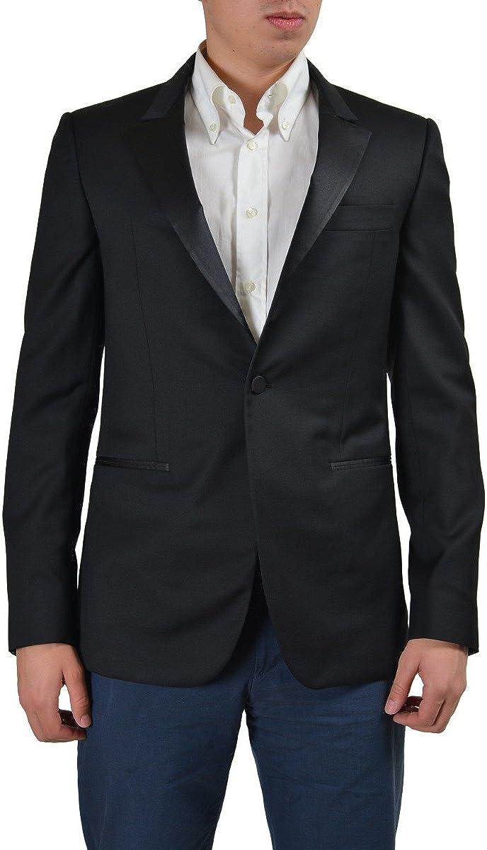 Versace Black One Button Tuxedo Style Men's Blazer US 38R IT 48R