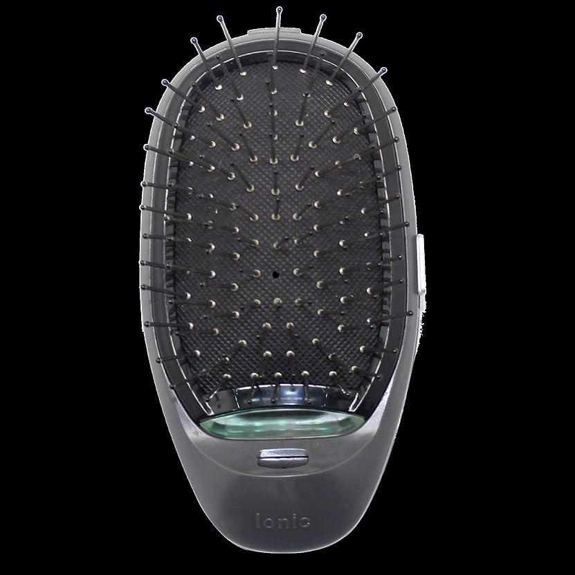 シュリンクドライブ家族電動マッサージヘアブラシミニマイナスイオンヘアコム3Dインフレータブルコーム帯電防止ガールズヘアブラシ電池式 - ブラック