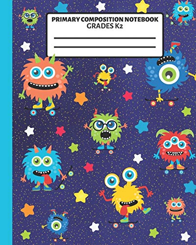 Primary Composition Notebook: With Story Space and Dotted Mid Line Grades K-2 Monsters with Skateboards Notebook For Boys