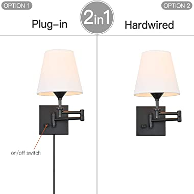 Pauwer Plug in Wall Sconce Set of 2 Adjustable Swing Arm Wall Lamps for Bedroom White Fabric Shade Wall Light Fixture Indoor