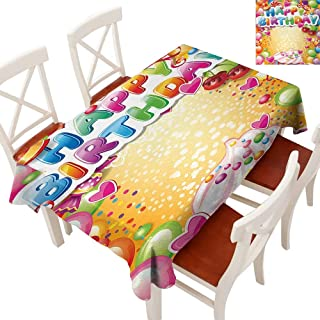 Elegant Waterproof Spillproof Polyester Fabric Table Cover Tablecloths for Rectangle/Oblong/Oval Tables Vivid Colored Frameworks with Many Balloons and Cupcake Cherry and Hearts Print Multicolor 60