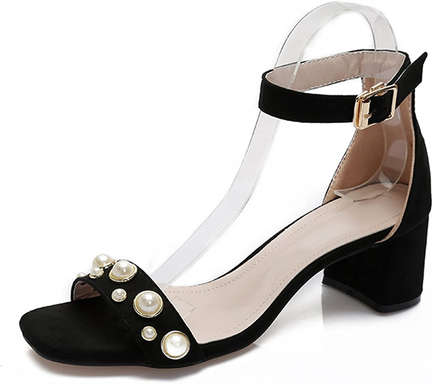 Karl Conner Women Sandals with Pearls Summer shoes Fashion Thick High Heels Sandals