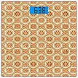 Escala digital de peso corporal de precisión Square Naranja y beige Báscula de...