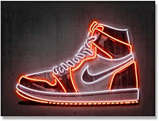 QZHSCYB Jordan Sneaker Art Print Scarpe da Basket Poster Street Wall Art Neon Canvas Painting Idea Regalo Uomo Decorazione...