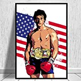 MJKLU Película de Boxeo Sylvester Rocky Boxer Balboa Stallone Lienzo de motivación Pintura Arte de la Pared Póster Fans Dormitorio Sala de Estar Culturismo Gym Club Studio Decoración para el hogar