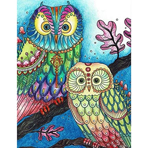 Owl Diamond Painting by Number Kits Greenke 5D DIY Full Round Drill Animal Diamond Painting for Adult Kids Gift, Home Living Room Bedroom Wall Decor Diamond Art Painting 12X16 inches