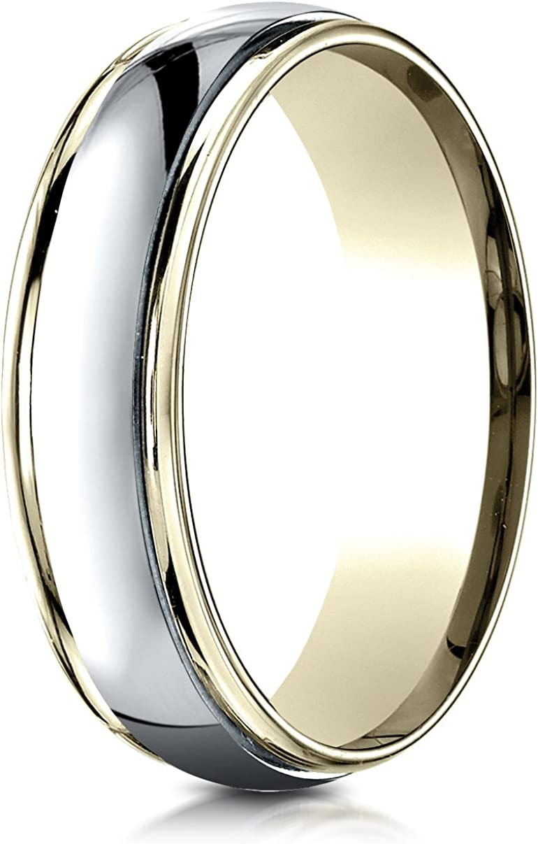 Benchmark 14K Two-Toned Save money Gold 6mm High Carve Comfort-Fit Chicago Mall Polished
