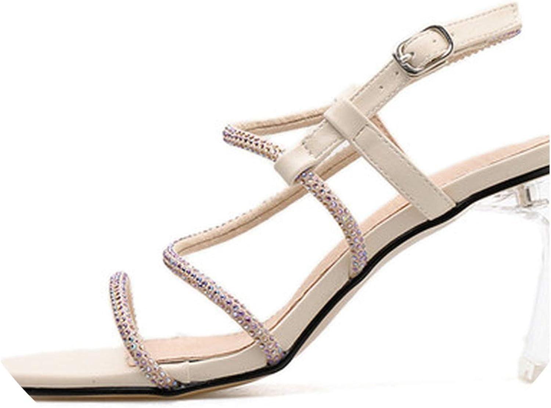 RAINIE002 Sandals Sexy Transparent Heel Crystal Open Toed High Heels Buckle Strapwomen Heels Sandals