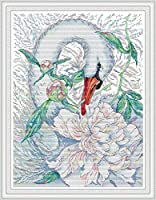 LovetheFamily ホワイトスワン4 41×53cm DIY十字刺繍 手作り刺繍キット 正確な図柄印刷クロスステッチ 家庭刺繍装飾品 11CT 3ストランド(インチ当たり11個の小さな格子 3株ライン) 刺しゅうキット ホーム オフィス装飾 手芸 手工芸 キット 芸術 工芸 DIY 手作り 装飾品(フレームレス)