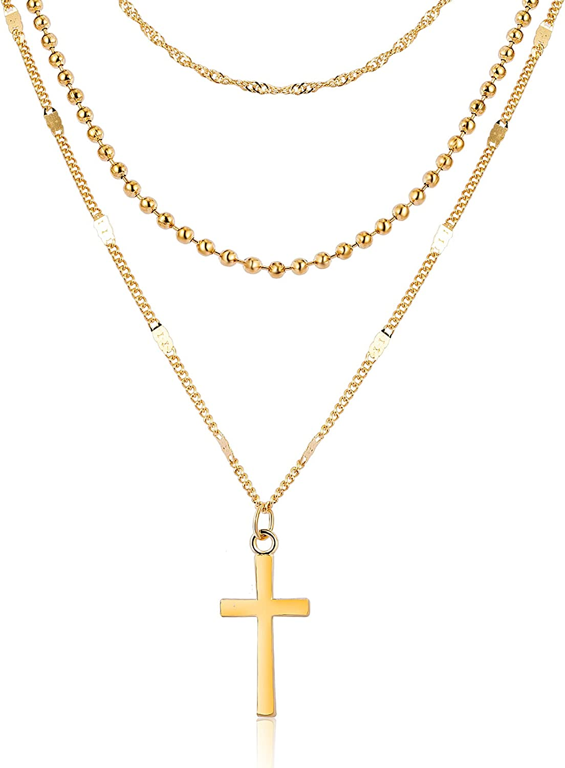 CHANBO Choker Necklaces for Women Girls, Dainty 14K Gold Layered Necklaces Pendant Cross Collar Necklace Small Short Necklaces for Women Girls
