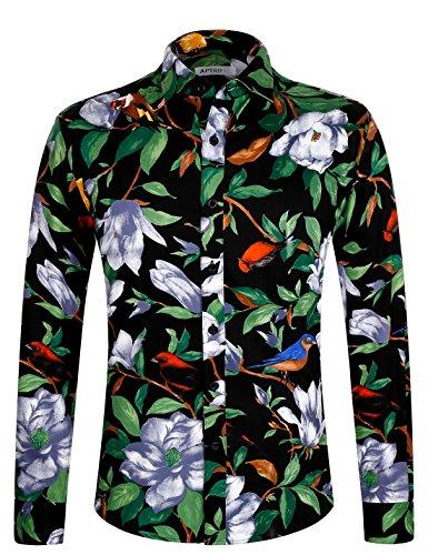 APTRO Freizeithemd Herren Blumen Hemd Baumwolle Mehrfabig Langarm Hemd 1006 Grün XL