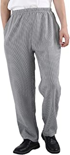 Nideen Men's and Women's Elastic Stripe Chef Pants Floral Restaurant Work Pants and Uniforms Baggy Chef Pants