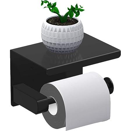 Leolee Porte Papier Toilette, Support Papier Rouleau sans Percage Derouleur Papier WC,Distributeur Papier avec Tablette, Acier Inox SUS 304, Colle Auto-adhésive et Mural Pour Salle de Bain (Noir)