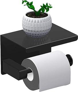 Leolee Porte Papier Toilette, Support Papier Rouleau sans Percage Derouleur Papier WC,Distributeur Papier avec Tablette, A...