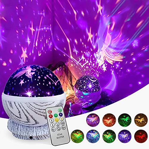 TCJJ Star Night Light Projector for Kids, Remote Control Star Projector, 360 Degree Rotating Unicorn Projection Lamp with 8 Multicolor, Unicorn Gifts for Kids Toddlers Nursery Bedroom and Party Decor