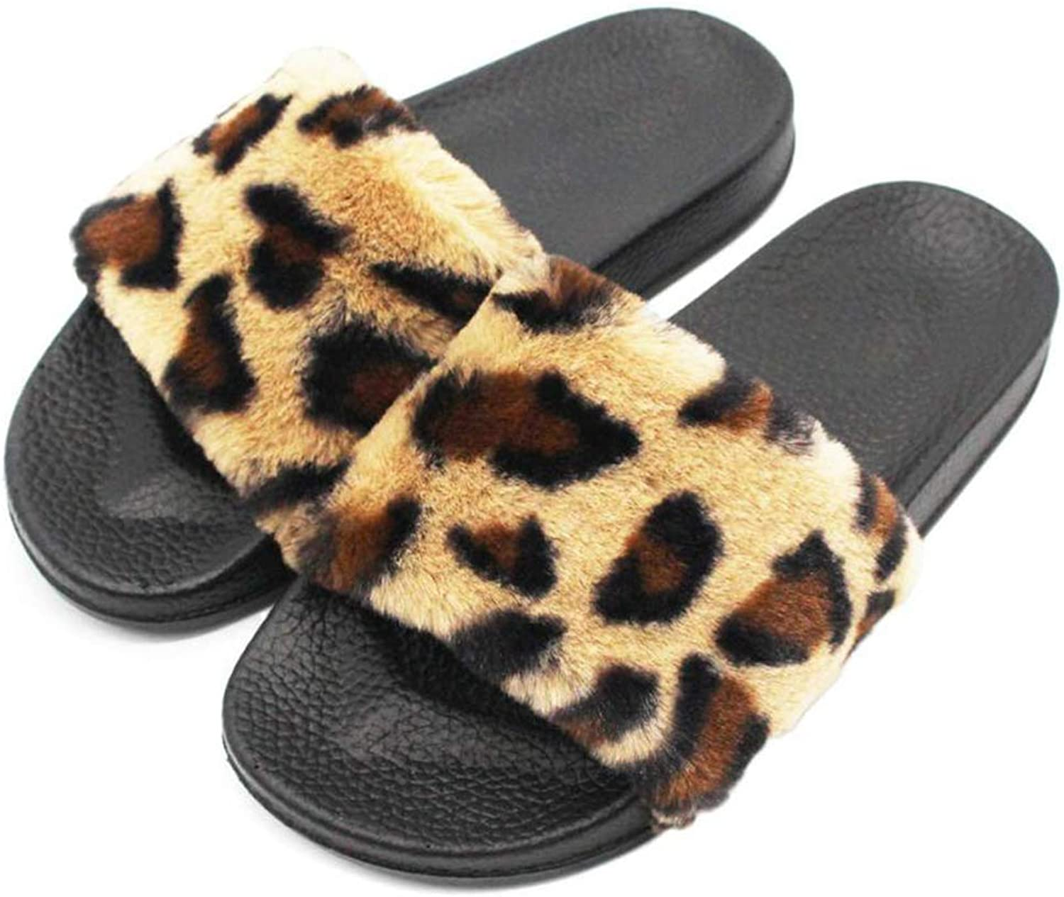 Nafanio Autumn Women Slippers Leopard Fluffy Faux Fur Flat Slip On Indoor Outdoor Home Winter Warm shoes Sandals