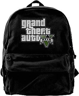 NJIASGFUI Grand Theft Auto 5 Mochila de lona para gimnasio, senderismo, portátil, bolso de hombro para hombres y mujeres