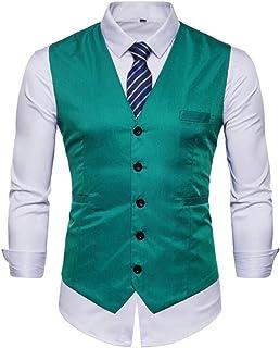 GRMO Men V-Neck 5 Button Blazer Waistcoat Plus Size Suit Coat