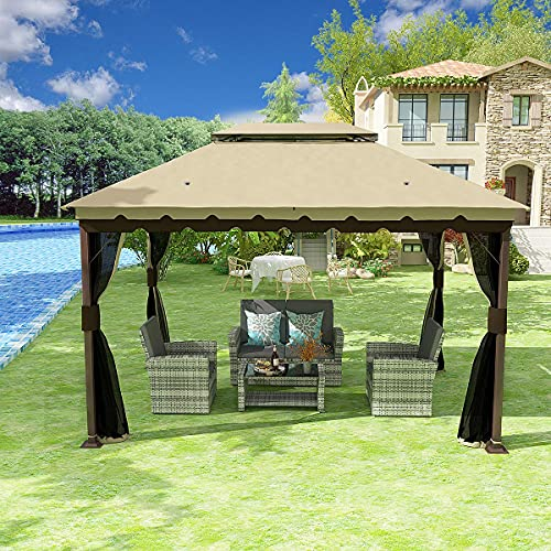 YITAHOME 10x13 ft Gazebo for Patio, Outdoor Double Roof Canopy Gazebo with Mosquito Netting,Soft Fabric Top Garden Winds Tent with Steel Frame for Lawn, Garden, Backyard and Deck (Khaki)