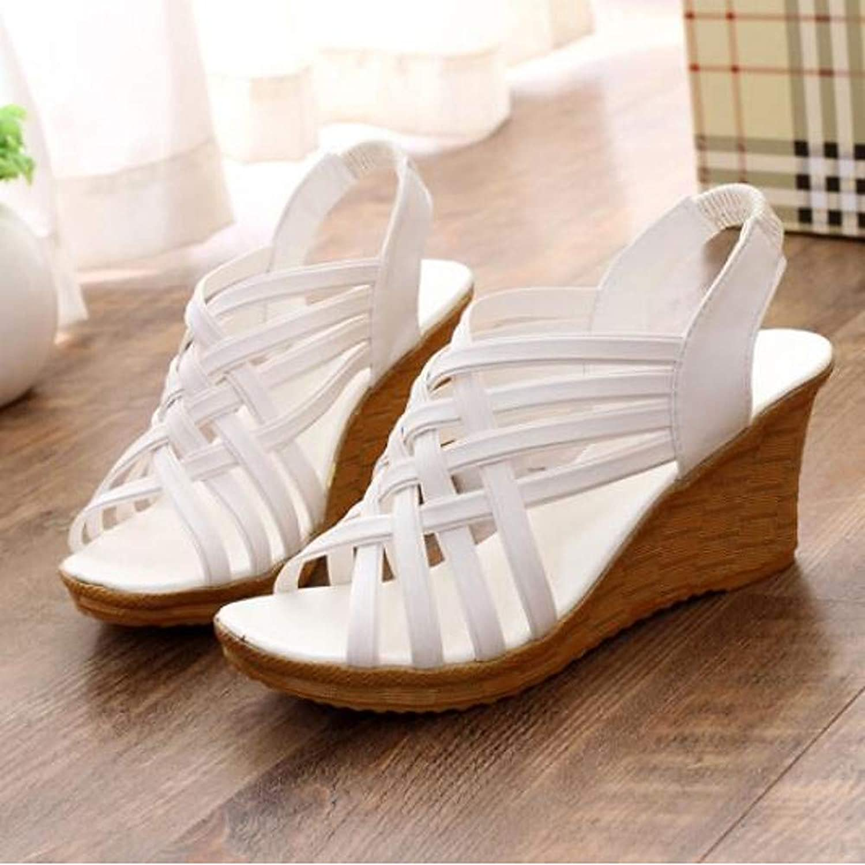Frauen Sommer Sandalen Keilabsatz Wei Schwarz Beige