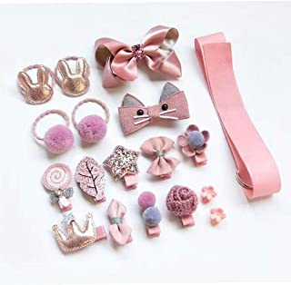 MerryBright 19pcs Baby Girl No Slip Hair Clips and Barrettes Set with Organizing Bag (Coral)