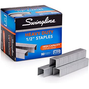 "Swingline Staples, Heavy Duty, 1/2"" Length, 90 Sheet Capacity, 100/Strip, 5000/Box, 1 Pack (79392)"
