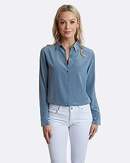 The Fable Women's Blue Steel Silk Shirt, Blue-Grey