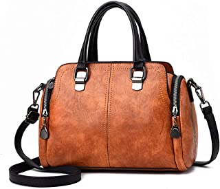 Bolsos de Las Mujeres, Popoti Bolsos de Hombro de Cuero Bolso de Mensajero Messenger Crossbody Bag, Bolsillos de Compras E...