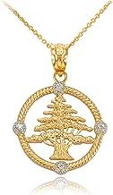 10K Yellow Gold Cedar Tree of Lebanon Diamond Pendant Necklace