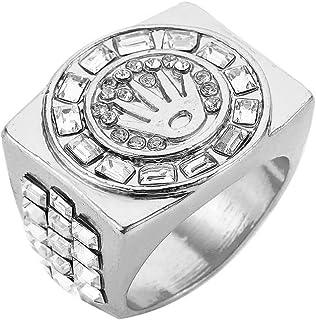 خاتم رجالي كبير فضي مطلي بالذهب بلينغ الماس الملك تاج مكسور القلب الهيب هوب مثلج الحجم #8 9 10 11 12 (التاج B - فضي، 12)