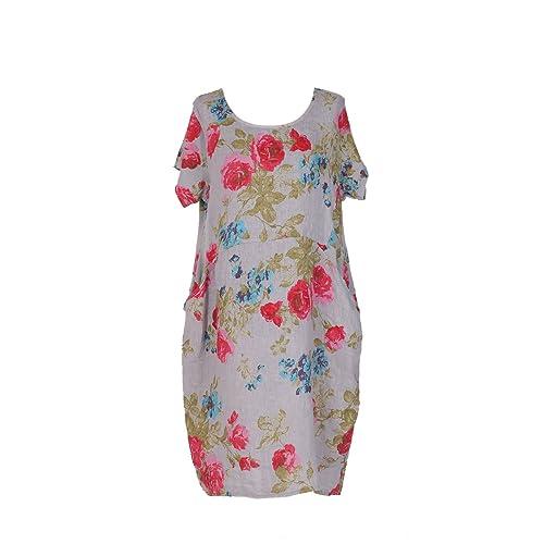 8abd3b6dc2 New Ladies Italian Linen Floral Pocket Dress Women Lagenlook Dress Plus  Sizes