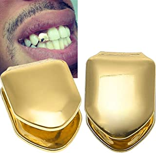 AnFun 4 Pieces 14K Plated Gold Grillz Hip Hop Top Tooth Single Grill Cap for Teeth Mouth
