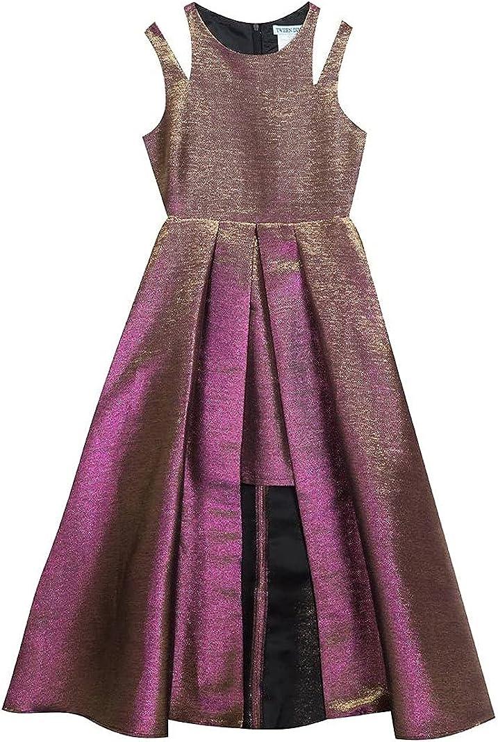 Rare Editions Tween Diva Girls 7-16 Purple Bronze Iridescent Metallic Walk Through Dress