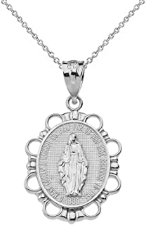 925 Sterling Silver Miraculous Medal Of Blessed Virgin Mary Pendant Necklace (Small)