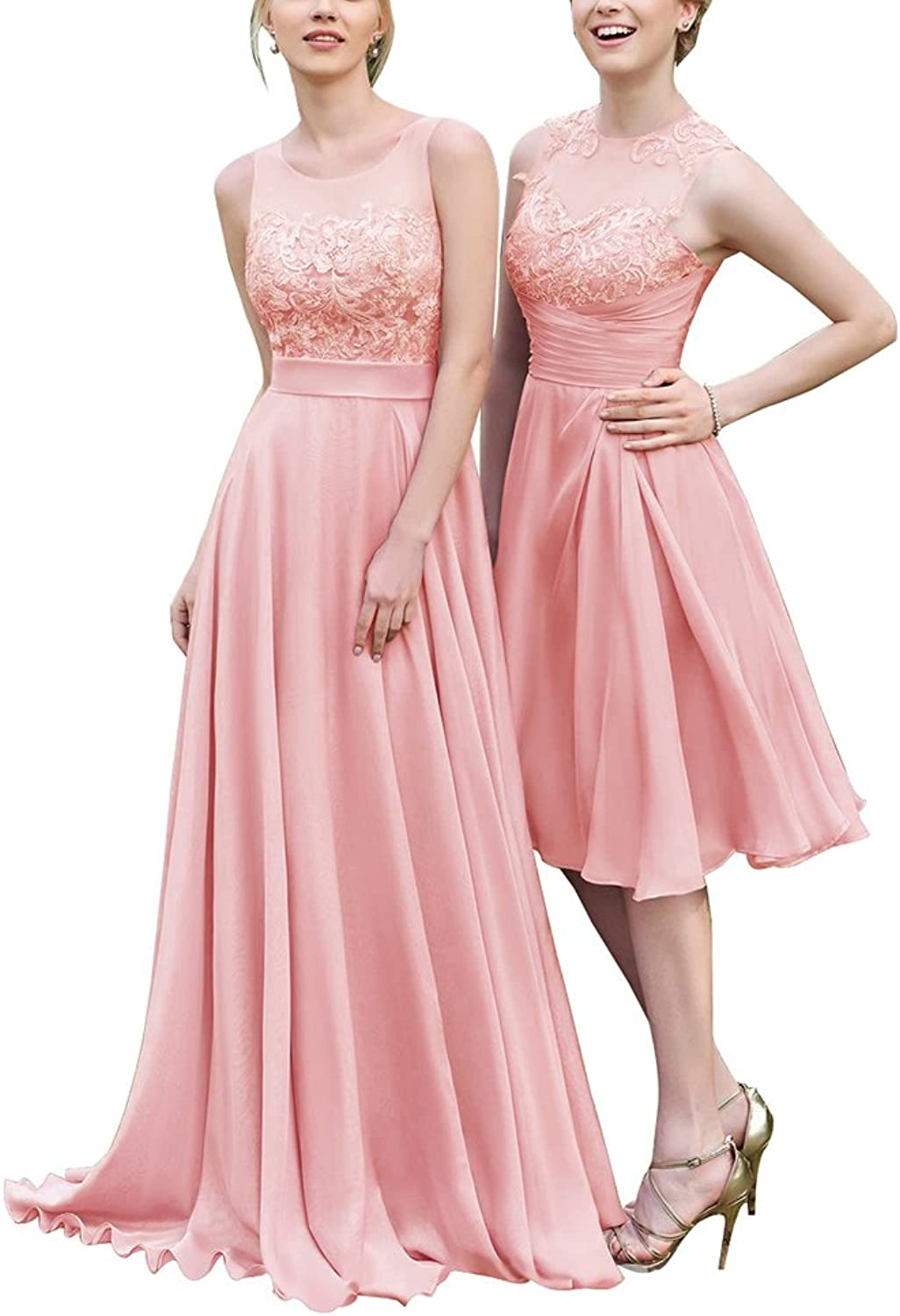 Hatail Long Bridesmaid Dress Backeless Lace Applique A Line Prom Evening Gown for