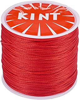 PandaHall Elite 1 Roll 0.5mm Round Waxed Polyester Cord Thread Beading String 116 Yards per Roll Spool for Jewelry Making and Macrame Supplies Red