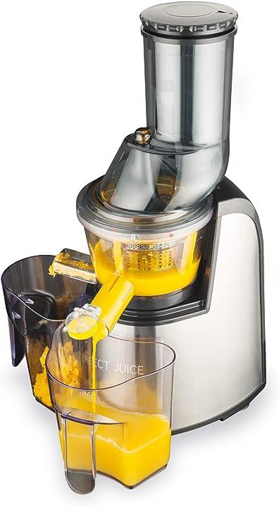Estrattore di succo a freddo e a lenta rotazione per frutta e verdura, 150 w macom perfect juice 859_SILVER