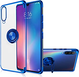Mi 9 Case, [with 360° Ring Stand] Crystal Clear [Electroplated Metal Technology] Silicone Soft TPU [Shockproof Protection]...