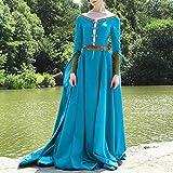 Fnho Vestido Medieval Renacimiento Mujer Vintage,Vintage Adulto Medieval Vestido,Vestido Vintage Medieval, Vestido de Temperamento de Cintura Alta-Blue_2XL