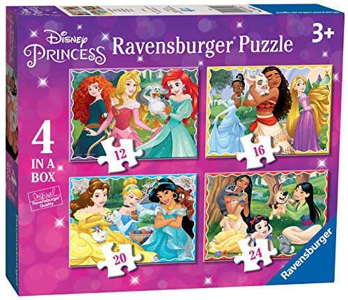 Ravensburger 030798 Principesse Disney, 4 Puzzle in a Box per Bambini, Età Raccomandata 3+