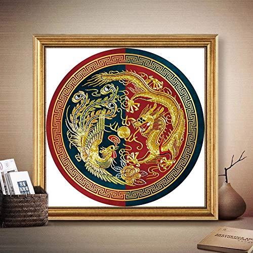 Drache Und Phoenix-Runde Muster, Chinesische Kreuzstich-Stickerei-Kits, 11CT Baumwollfaden Malerei DIY Needlework, DMC Home Decor Kreuzstich-Malerei (Size : 9CT 61x61cm silk)