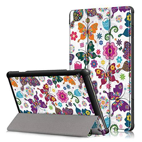 LJSM Funda para Lenovo Tab M10 TB-X605F / TB-X505F 10.1' Carcasa Silicona Smart Cover con Soporte Función Caso PU Flip Case - Butterfly