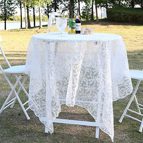 Lace Tablecloth Palace Embroidery Hollow Simple Transparent Mesh White Round Table Lace Picnic Rectangular Tablecloth(Size:140 * 200cm)