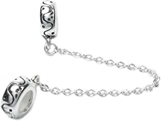 Sterling Silver Round Rubber Stopper European-style Bead Charm with Safety Chain