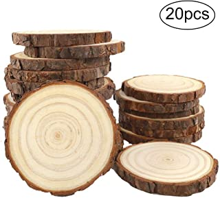 CEWOR Natural Wood Slices 20pcs 4.0-4.7 Inches Round Circles Unfinished Tree Bark Log Discs for DIY Crafts Christmas Ornaments Rustic Wedding Decoration