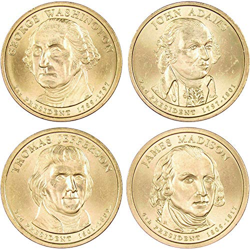 2007 P Presidential Dollar 4 Coin Set BU Uncirculated Mint State $1 Collectible