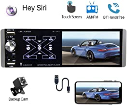 """$54 » Podofo Single Din Car Stereo 4.1"""" Capacitive Touchscreen Support SIRI Smart AI Voice Control, Bluetooth Car Audio Video Player, AM/FM/RDS Radio Receiver, MirrorLink, Dual USB Port, AUX In, Rear Mic In"""