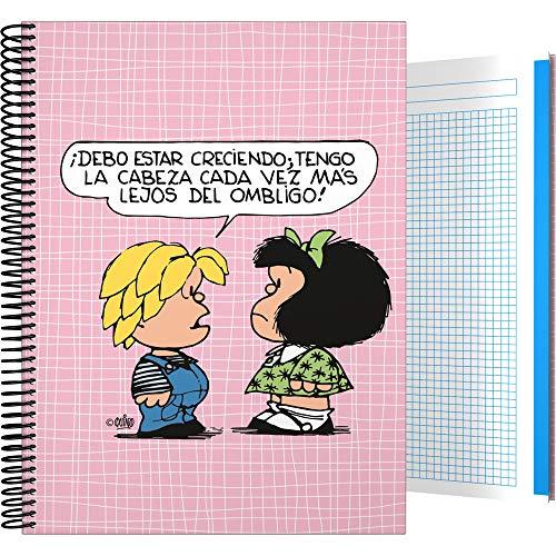 Mafalda 16512612 Colección Mafalda Cuaderno, Cuadriculado 5 Mm, Modelo Belly Button, A5