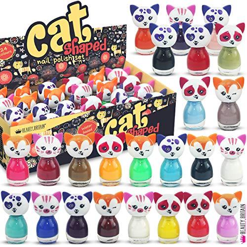 24 x Esmalte De Uñas En Forma De Gato Peel-off A Base De Agua 24 Colores Diferentes Caja De Lujo